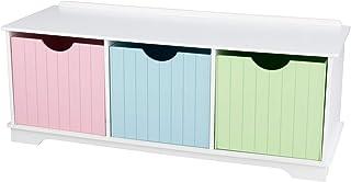 KidKraft 14565 Nantucket förvaringshylla i pastellfärger med 3 lådor/förvaringsbehållare/korgar, barnrumsmöbler