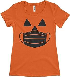 Women's Jack O' Lantern Pumpkin with Mask Halloween Costume T-Shirt