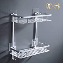 KES 2-Tier Bathroom Shelf No Drill Rectangle Shower Caddy Organizer Aluminum Without Drilling Screw Free Wall Mount Anodized, A4028BDF