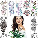 Fanoshon Large Sexy Rose Flower Arm Temporary Tattoos for Adults Women Men, 10 Sheets Teen Girls Waterproof Fake Hummingbird Tattoos Black and White Watercolor Body Makeup Costume Party Accessories