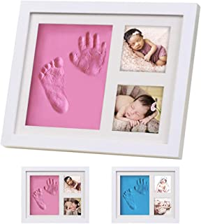 Baby Footprint Kit Picture Frame, Baby Shower Gifts for Newborn Girls Boys, Baby Handprint Kit, Boys Baby Shower Decorations Party Favors, Baby Keepsake Box for Nursery Decor (Pink)