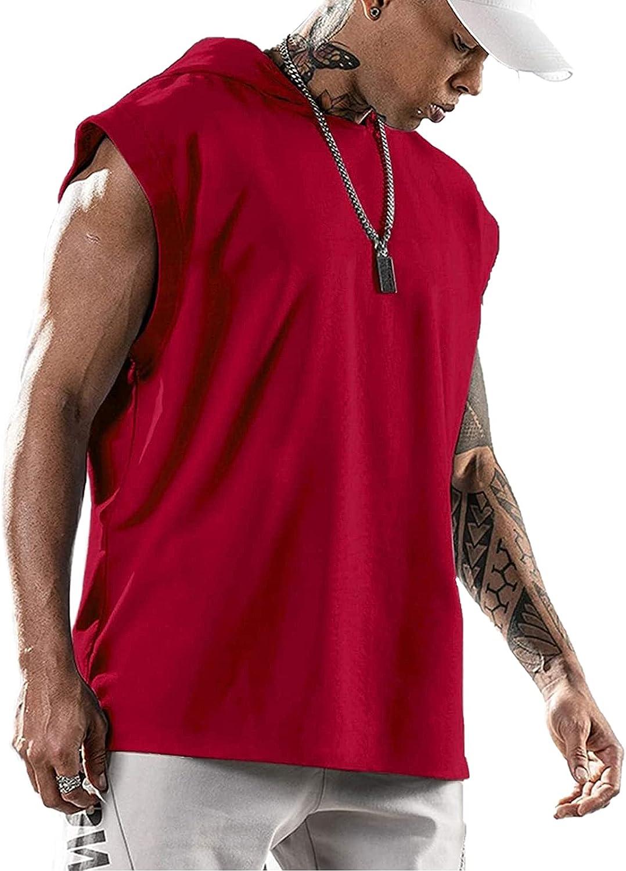 Mens Sleeveless Tanks Hoodies Black Pullover Hip Hop Fashion Loose Gym Sport Top