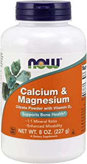 NOW Supplements, Calcium & Magnesium Citrate Powder with Vitamin D3 , 8-Ounce