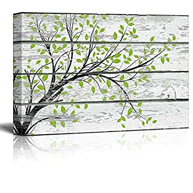wall26 Canvas Prints Wall Art - Tree Branch with Green Leaves on Vintage Wood Background Rustic Home Decoration - 16  x 24