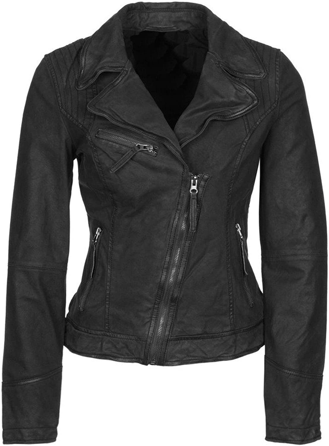 New Womens Lambskin Leather Slim Fit Motorcycle Jackets LFW159