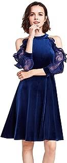 Alisa Pan Cold Shoulder Velvet Christmas Party Dress 05896