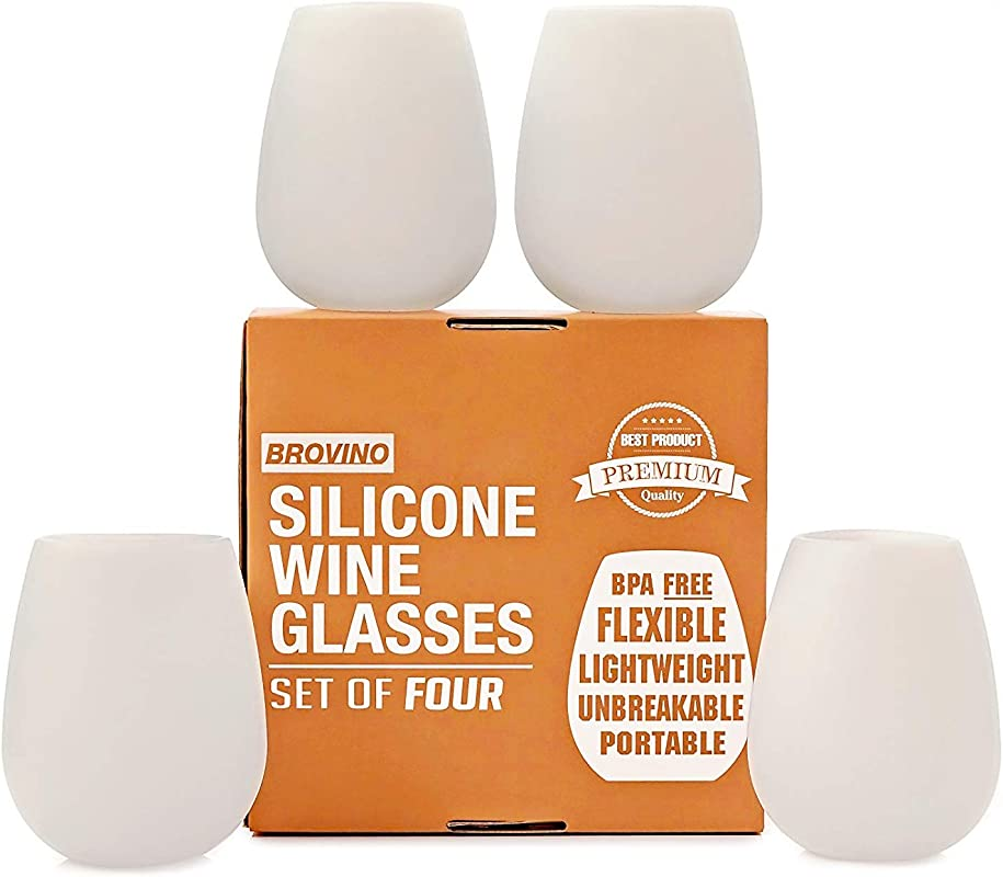 Silicone Wine Glasses Set Of 4 Unbreakable Outdoor Rubber Wine Cups 14 Oz Clear Silicone 100 Dishwasher Safe Shatterproof Glass For Travel Outdoor Picnic Pool Boat Camping