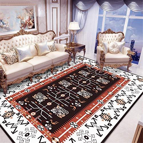 WQ-BBB Lavable Absorbente jarapas Estilo étnico Rojo Alfombra De Diseño Moderna patrón Retro marrón Blanco Negro Suave Dormitorios Alfombras 160X230cm