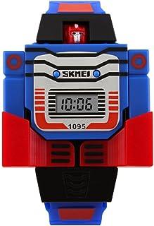 子供用 ロボット型デジタル腕時計 SKMEI 変身トランスフォーマー型 日本語説明書付