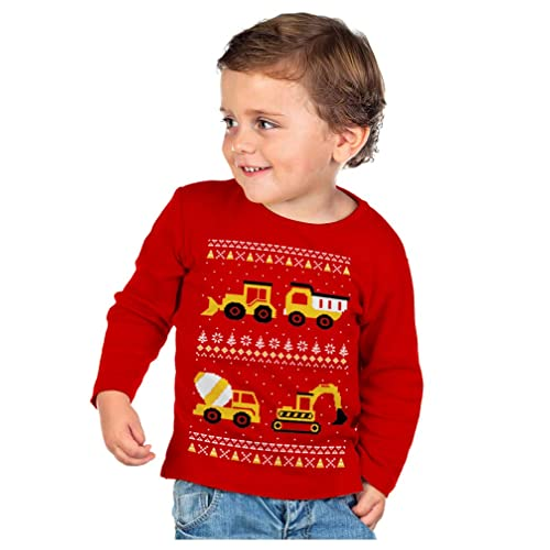 cc6982133c Tractors Bulldozers Ugly Christmas Sweater Style Boys Kid Long Sleeve T- Shirt