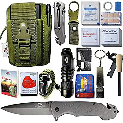 STEALTH SQUADS 42 in 1 Survival Military Pouch KIT, Premium Tactical Pocket Knife, First AID KIT, EDC Multi-Tool USE for Camping, Hiking, Biking, Outdoor Safety Gears for Men and Women by STEALTH SQUADS