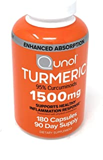 Turmeric Root Extract Curcumin Softgels, Qunol with Enhanced Absorption 1500mg, Joint Support, Dietary Supplement, 95% Cur...