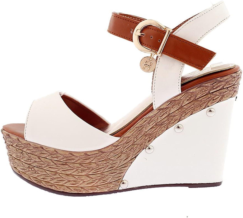 DecoStain Women's Buckle Straw Wedge Sandals
