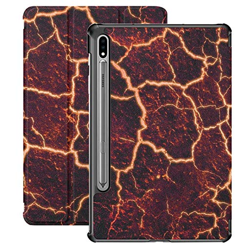 Lava Cracked Fire Volcano Stone Funda de Libro para Galaxy Tab S7 Plus para Samsung Galaxy Tab S7 / s7 Plus Fundas para Tableta Cubierta Trasera con Soporte Funda para Libro Samsung Galaxy Tab S7 par