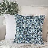 Funda De Cojine Funda de Almohada,Amarillo y azul, azulejos tradicionales portugueses mosaico abstracto motivos florales rem,Fundas de Cojín con Cremallera - Fundas de Almohada para Sofá y Cama45x45cm