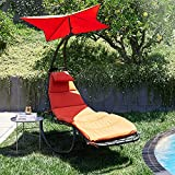 BELLEZE Outdoor Hanging Chaise Lounge Chair Swing Curved Cushion Seat Hammock with Canopy Sun Shade, Orange