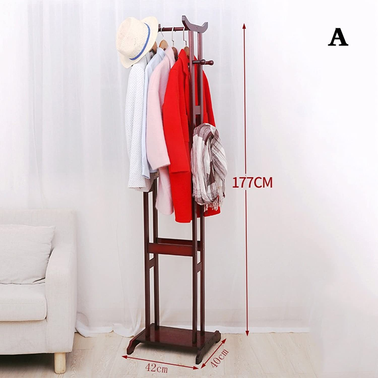 Coat Racks Solid Wood Landing Hangers Bedroom Modern Simple Clothes Shelves Simple Racks Racks Tighten The Thicker Chassis ( color   Brown , Size   42cm )