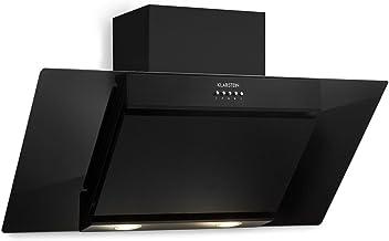 Klarstein Zola - Campana extractora de pared, Aspiración/Ventilación, 3 Niveles intensidad, Filtro grasa de aluminio, Iluminación LED, Extracción hasta 640 m³/h, Potencia 210 W, 90 cm, Negro
