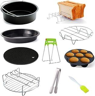 Szaerfa Accessoires de friteuse à air antiadhésif 9 pièces, moule à gâteau 6/7/8 pouces/plateau à pizza/grille à pain gril...
