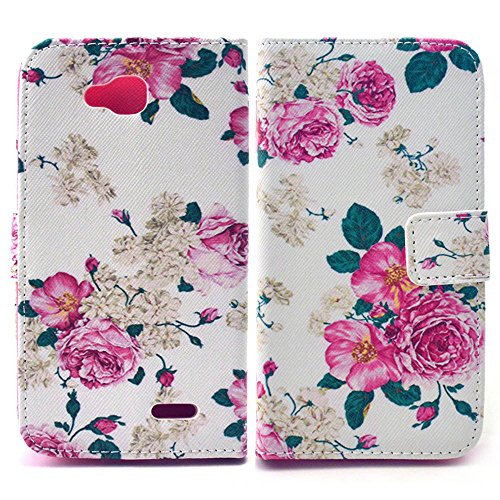 Bfun Packing Pink Flowers Pattern Leather Wallet TPU Cover Case for LG Optimus L90 D415