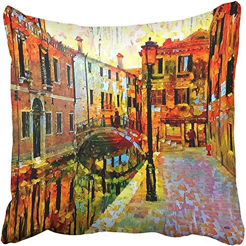 Fodere per cuscini Fodere Decorativo 18x18 pollici Colorato Paesaggio Pittura a olio Scena di Venezia Acquerello Astratto Artistico Barca Due lati Stampa Federa Custodia Fodera per cuscino