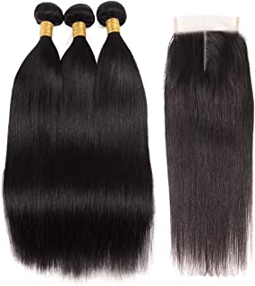 8A Peruvian Straight Hair With Closure 3 Bundles Unprocessed Virgin Human Hair Bundles With Lace Closure (81012+8, Middle Part)