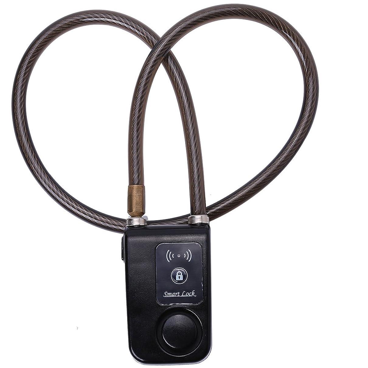 観察速報サイクル自転車 バイク チェーンロック スマートロック キーレス アラームロック 電話APP制御 105dB 盗難防止 自転車 オートバイ ゲート用 80cm(01)