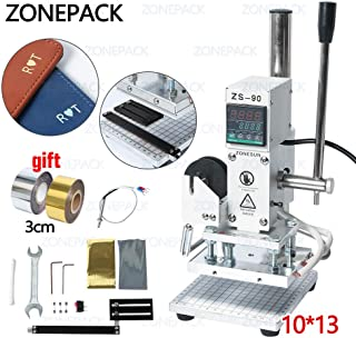ZONEPACK 10x13cm Digital Embossing Machine Hot Foil Stamping Machine Manual Tipper Stamper for PVC Leather PU Paper with Paper Holder and Scale Branding on Masks