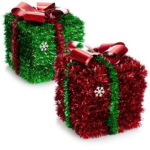 com-four 2X Decorazioni Natalizie Regalo - Scatola Scintillante Come Decorazione della Stanza per Natale e Avvento - Confezione Regalo per Nascondere i Regali (02 Pezzi - Regalo Rosso Verde)