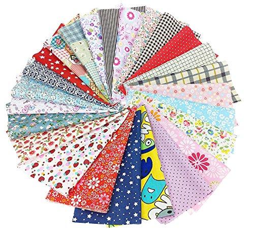Tessuto Stampato in Cotone DIY Tessuto Cotone Tessuto Quadrati di Cotone Tessuti Stampati da Cucito Stoffa Patchwork Floreale per Cucire (20cmx20cm)
