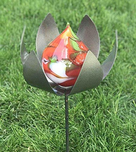 Edle Bodenblüte aus Glas/Metall mit Stab Gartenstecker handgefertigte Gartenstele