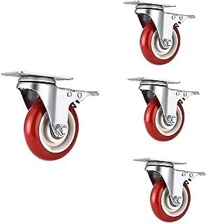 Casters 4 meubelwielen 3 in / 4 in / 5 in zwenkwielen, meubelwielen met remmen, wielen van polyurethaan, totale capaciteit...