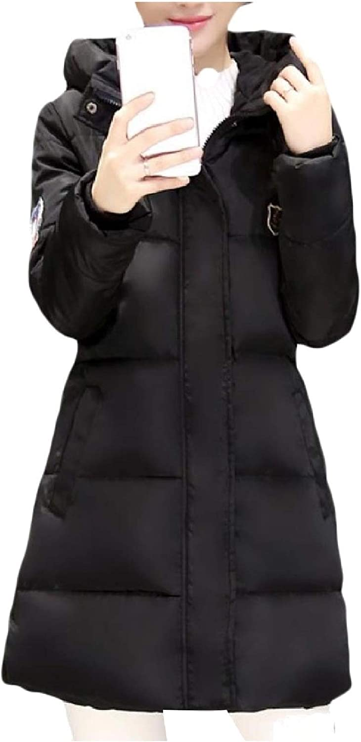 Women's Slim Casual Quilted Fleece Mid-Long Slim Thick Jacket