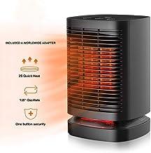 YAUUYA Calefactor Cerámico PTC Calentacdor Eléctrico de Espacio Personal de Aire Caliente 2 in1 con Oscilación Automática Protección contra Sobrecalentamiento y Volcado para Hogar Oficina
