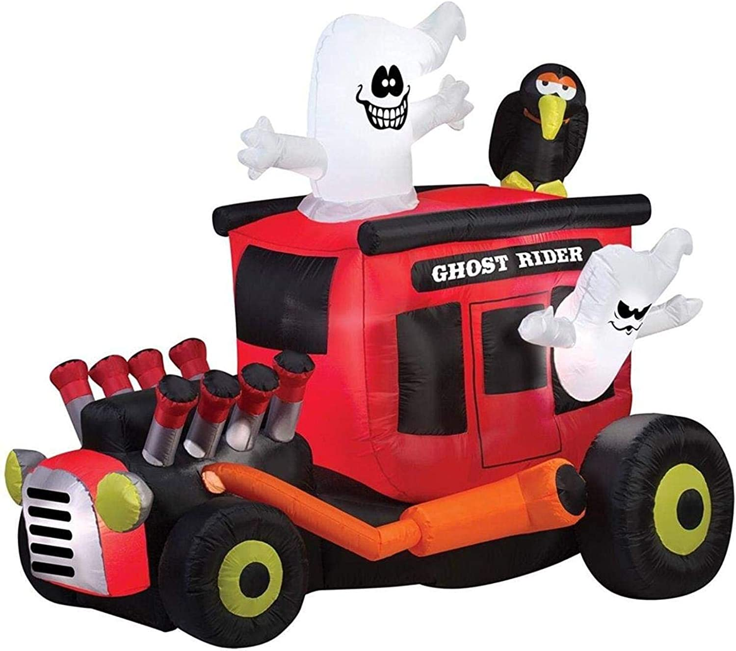 Gemmy Airblown Inflatable Animated Ghost Rider Hot Rod with Crow - Holiday Decoration, 6-foot Long x 5-foot Tall x 3.5-foot Wide