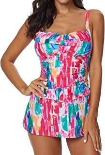 HANMAX Womens Two Pieces Sports Swimwear Color Block Print Tankini Top with Boyshorts Swimsuit