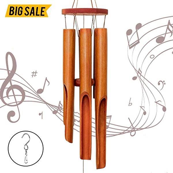 Zween Bamboo Wind Chimes For Outdoor And Indoor Wooden Wind Chime With Amazing Deep Tone For Patio Garden Or Indoor D Cor Windchimes For Relaxation Grace Memorial Of A Loved One Or Sympathy