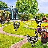 5 carteles decorativos para jardín, diseño de gallina, césped, estacas metal,...