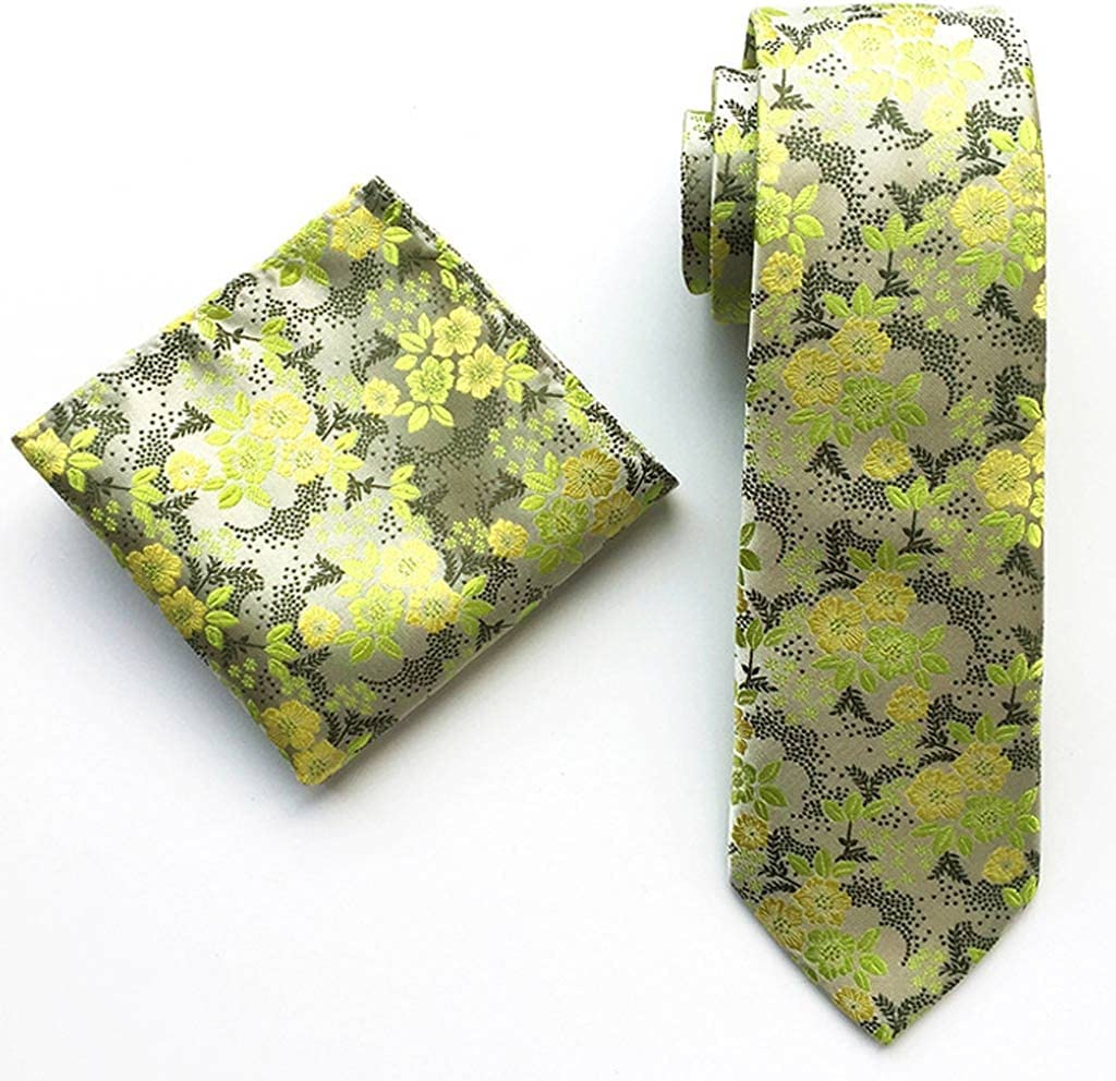 ZZABC NSLDXZPJ Fashion Business 100% Silk Men's Tie Ties for Men Formal Wedding Quality Two-Piece Tie and Square Scarf (Color : D)