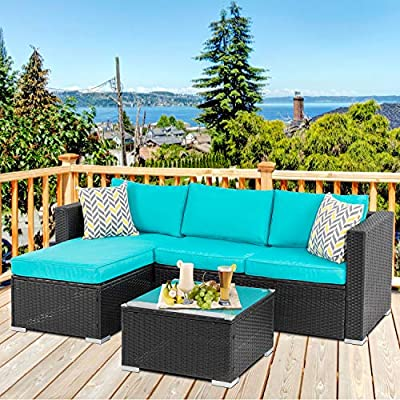 Walsunny Outdoor Furniture Patio Sets,Low Back All-Weather Small Rattan Sectional Sofa with Tea Table&Washable Couch Cushions&Upgrade Wicker(Black Rattan) (3-Piece, Blue)