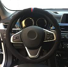 Eiseng Universal Black Suede Auto Car Steering Wheel Cover 15 inch for BMW E39 E46 E89 E70 E90 E92 F10 F30 3 Series 5 Series Z4 X1 X2 X3 X4 X5 X6 M2 M3 M4 M5 Soft-Durable-Bump-Anti Slip-Warm (Black)