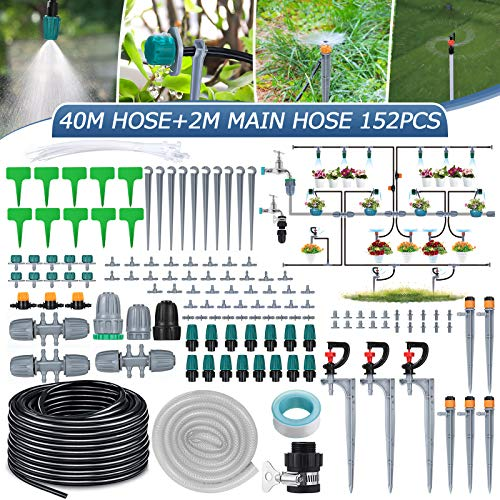 Micro Drip Irrigation Kit,king do way 42m/138ft Garden Irrigation System with Adjustable Nozzle...