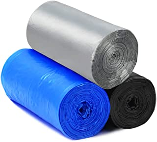Kitchen Trash Bags 4 Gallon Garbage Bags Thicken Portable Rubbish Waste Bins Bags for Home Office Car Trash Cans Liners(3 Rolls,Black+Blue+Silver)