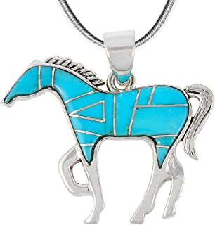 Horse Necklace Sterling Silver Genuine Turquoise & Gemstones with 20