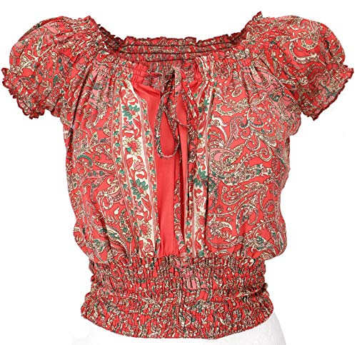 Guru-Shop Blusentop Boho Chic, Hippie Bluse, Damen, Rot, Synthetisch, Size:38, Blusen & Tunikas Alternative Bekleidung