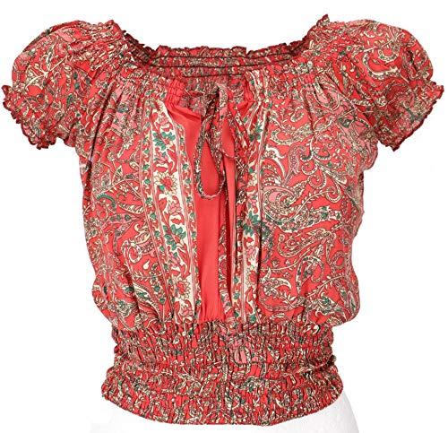 GURU SHOP Blusentop Chic, Hippie Bluse, Damen, Rot, Synthetisch, Size:38, Blusen & Tunikas Alternative Bekleidung