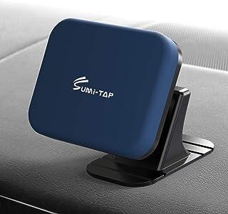 sumi-tap スマホホルダー 車 マグネット式 車用粘着式自由設置可能 カーナビホルダー ダッシュボード曲面粘着可能 携帯ホルダー 360度回転カーマウント 磁石車載スマホホルダー iphone/android/galaxy 多機種対応(四角型 ネイビー)
