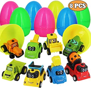 heytech 8 Pack Filled Easter Eggs Filled with Pull-Back Construction Vehicles Easter Egg Hunt Game, Cars Toys Party Favor for Kids, Boys, Girls, Chilren