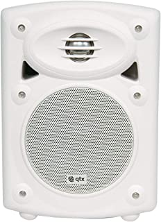 QTX | Amplified Stereo Speakers with Deep Bass Response | White | 80W Max