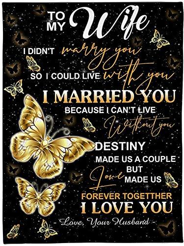 Manta para Mi Esposa De Marido,Edredones con Letras Impresas,Manta con Mensaje Personalizado,Regalo de San Valentín,E,150 * 220